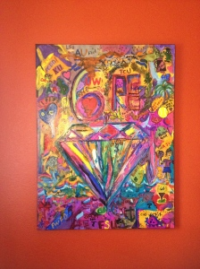 """60 Diamonds""  36x48 Acrylic & Ink on Cavas 60+ Artist & Brandi C. April 2014"