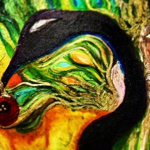 """Eat The Apple"" 24x48 Acyrlic & Ink on Canvas 2014 Gallery Brandi C. Art 827 Currie St. Fort Worth, TX"